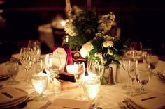 Intimate table setting for wedding reception #weddingreception #lighting #placesettings