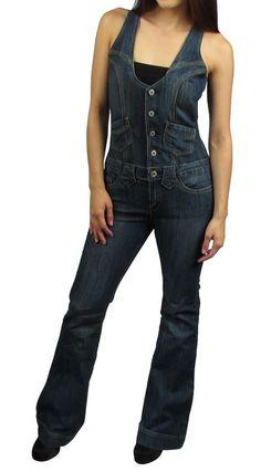 Blue Jean Denim Faded WashSleevelessLong Pants Romper/Jumper/Jumpsuit XS S M L #VanillaStar #Jumpsuit