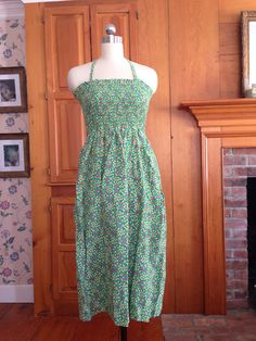 70's Vintage Sundress Strapless or Halter Smocked Elastic Top Green Calico Cotton Dress S by GypsyGeneral on Etsy https://www.etsy.com/listing/216262561/70s-vintage-sundress-strapless-or-halter