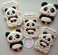 Baby Panda Cookies~                      By SugarySweetCookies. Black, white, pink, chevron. What is cuter than a baby Panda