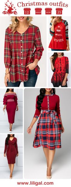 46742841c 20+ Christmas outfits for women 2018, Christmas tops, Christmas blouses,  Christmas t shirts, Christmas dresses, Christmas party dress, Christmas  outfits, ...