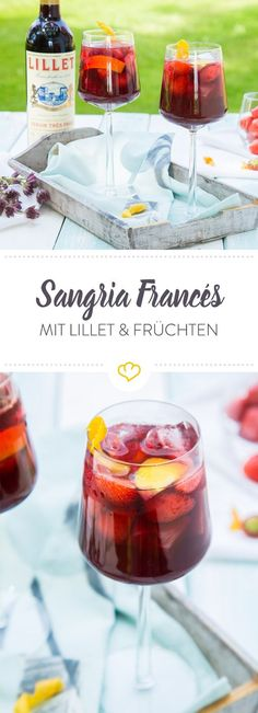 Sangria Francés Cocktail Summer, sun and a sophisticated aperitif are simply together. Mix a fantastic fruity French Sangria with Lillet Rouge. Best Gin Cocktails, Sauce Cocktail, Sangria Cocktail, Summer Cocktails, Cocktail Recipes, Drinks Alcohol Recipes, Non Alcoholic Drinks, Bloody Mary, Mojito