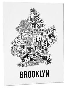 "Brooklyn Neighborhoods - black text on white or reverse.  18"" x 24"".  $22"