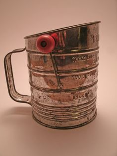 Vintage Sifter, I have kept my mother's just like this, red wooden ball on handle for ease in turning