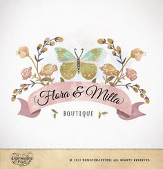 Logo Custom Premade Watercolor Butterfly Flowers Design for Boutique, Etsy Shop, Small Business. $39.90, via Etsy.