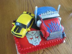 transformers optimus and bumble bee cake