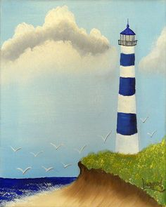 Lighthouse painting. Blue & white lighthouse. Original oil painting by ArtintheCountry. Copyright © 2011 Darrel Livengood. PIN10 for $10.00 off at checkout. Click on Etsy link to see details.