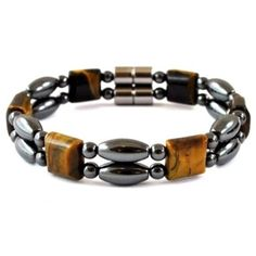 inch Tiger Eye Double Line Magnetic Hematite Beads And Clasp Magnetic Bracelet for Men and Women Trendy Bracelets, Black Bracelets, Bracelets For Men, Fashion Bracelets, Bracelet Display, Linnet, Art Ideas, Walmart, Florida