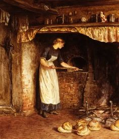 Baking Bread by Helen Allingham, 19th Century