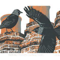Jackdaws - Original limited edition linocut print £48.00