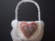 Flower Girl Basket White Pink by ArtisanFeltStudio on Etsy