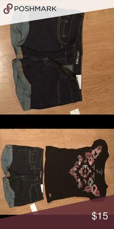 Cuffed Denim Shorts Ecko Unlimited blue denim cuffed shorts. Ecko Unlimited Shorts Jean Shorts