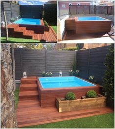 pool im garten Put together your backyard for the summer time with these small pool concepts - DIY Idees Creatives. Small Inground Pool, Backyard Pool Designs, Small Backyard Landscaping, Small Pools, Swimming Pools Backyard, Pool Decks, Pool Pool, Backyard Decks, Landscaping Ideas
