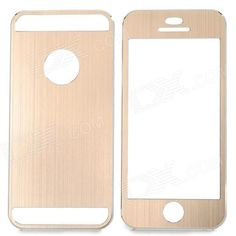 Color: Golden; Quantity: 1 Set; Material: Aluminum alloy; Shade Of Color: Gold; Compatible Models: IPHONE 5S,IPHONE 5; Style: Full Body Cases; Other Features: Protects the cell phone from dust, shock and scratches; Packing List: 1 x Case; http://j.mp/1lkzCis