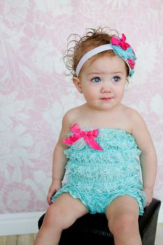 Lace petti romper with bow