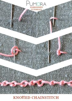 Pumoras lexicon of embroidery stitches: knotted chain stitch