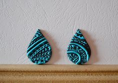 Polymer clay cabochon pair, handmade cabochon, Fimo cabochon ( 176. ) by Beabead on Etsy