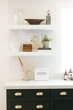 Green cabinet kitchen styling