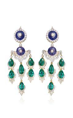 Majestic Embrace Earrings with Zambian Emeralds and Tanzanites by Farah Khan Fine Jewelry