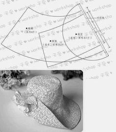 Desenhe em papel com as medidas da figura e obtenha o molde para fazer este lindo chapéu. Este estilo de chapéu é um clássico está sempre na moda. Escolha