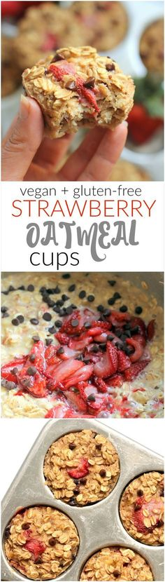 Roasted Strawberry #Chocolate Chip Baked Oatmeal Cups are a whole grain treat made with NO oil, butter, or refined sugar. #Vegan, #glutenfree, and kid-friendly! Only one bowl required for this simple breakfast or snack.