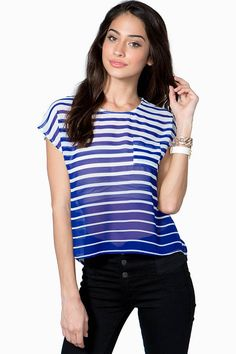 Make 'em dizzy in this bright tee featuring allover stripes and a decorative button closure in the back. Round neck. Short sleeves. Finished hem. Sheer. Unlined. Chiffon.