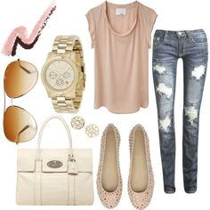 Blush color again; I love the shoes and bag; of course the most expensive items.....but such a comfy outfit.