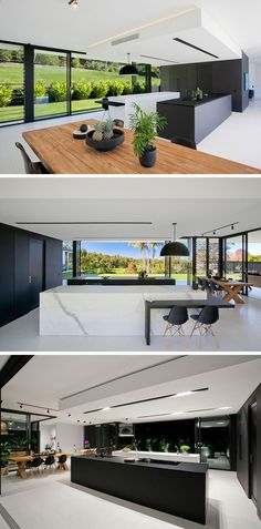 In this minimalist kitchen, fine matt black laminate and marble-look porcelain used in the design of the islands , and a large black box hides the essentials of the kitchen. Inside theres plenty of storage, an additional butlers sink and extra prep space.