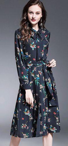 Elegant Bowknot Neck Floral Print A-Line Dress