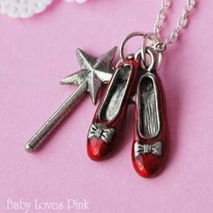 Ruby Slipper Necklace - Wizard of Oz with Magic Wand by Baby Loves Pink, http://www.amazon.com/dp/B006CDCMS2/ref=cm_sw_r_pi_dp_5BOkrb1DBABD5