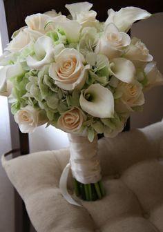 round calla lily hydrangea and rose bouquet - Google Search