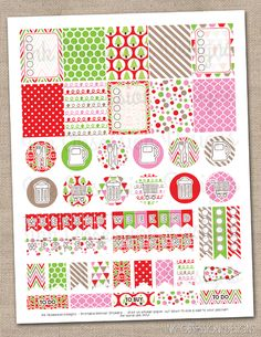 Christmas Set Planner Stickers Instant Download DIY Printable PDF with Checklists Weekend Banners