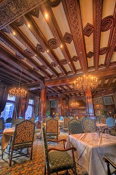 Dining Room in The Empress Hotel, Victoria, BC. We had a beautiful High Tea in this room. Then we went and bought our 'Bob' Bear. Love you son ,