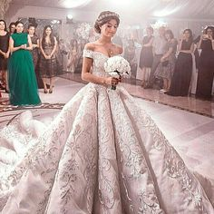 Beautiful bride from RUSSIA in a baroque embroidered full bias wedding gown studded with pailette, pearls and Swarovski crystals . Evening Dresses For Weddings, Dream Wedding Dresses, Bridal Dresses, Bridal Gown, Beautiful Wedding Gowns, Beautiful Bride, Beautiful Dresses, Bridal Looks, Bridal Style
