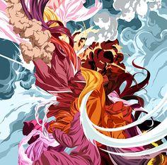 Polifacético. Aunque la mayor parte de su obra está compuesta por elementos llenos de color, también tiene algunos dibujos a lápiz.