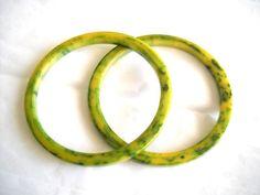 Vintage Green Bakelite Spacer Bracelets Set Two by FindCharlotte