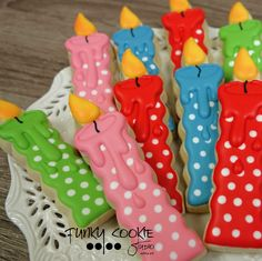 Birthday candle cookies by Funky Cookie Studio