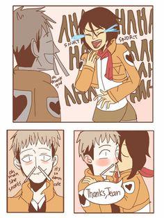 I love this *w* | Attack on Titan / Shingeki no Kyojin AoT/SnK | Jean Kirstein/Kirschtein x Mikasa Ackerman JeanKasa/JeanMika | Anime Manga cute couple OTP