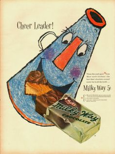 1961 Mars Milky Way chocolate bar ad.