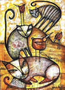 ♥ DAN CASADO of Outsider Folk Art ~ I'm the proud owner of this piece: 'Cats and Birds' ~ Original collage painting ~ I stumbled across his artwork many years ago & have followed him ever since.  His work is remarkable...makes me feel so many emotions & I've been lucky enough to have 4 of his works hanging in my home! ♥