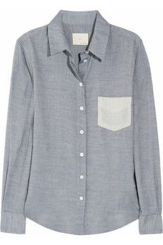 striped pocket cotton blend shirt __ boy, band of outsiders
