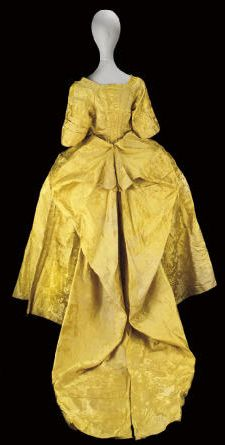Court mantua (back view), of Chinese imperial yellow silk damask, fabric from the 1740's, made up in the 1750's.