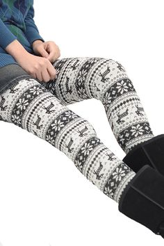 Black And White Reindeer Winter Print Cotton Lined Christmas Leggings Legging Outfits, Printed Leggings Outfit, Cotton Leggings, Women's Leggings, Pattern Leggings, Print Leggings, Christmas Leggings, Winter Leggings, Next Clothes