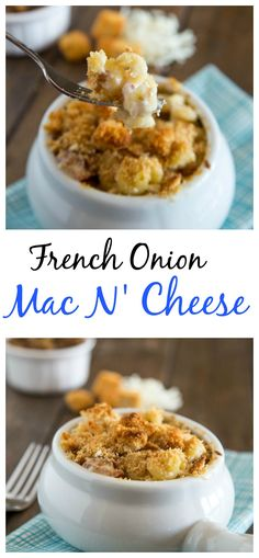 French Onion Mac N' Cheese - Creamy mac n' cheese with caramelized onion, bacon, and topped with croutons.