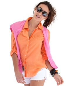 100% cotton voile button down shirt with gross grain ribbon detail and roll-up sleeve detail.