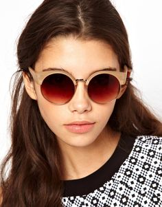 ASOS | ASOS Half Frame Kitten Round Sunglasses at ASOS