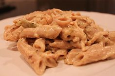 Crock Pot Chicken Fettuccine. Ingredients: Chicken Tenders or chicken breasts. Salt and Pepper to taste. 1 pkg. dry Italian Dressing mix.  8 oz. Phili. Cream Cheese, 2 cans cream of chicken soup. 1 cup milk  1/2 tsp. season salt (opt.).1/2 tsp. Onion powder (opt.) Add everything to the crock pot (cube the cream cheese...it's okay if the chicken is frozen). Cook over low for 6 - 8 hrs. Shred chicken and serve over cooked pasta.