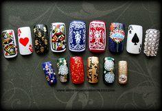 Fake Nails Viva Las Vegas Handpainted Nail by Nevertoomuchglitter Vegas Nail Art, Las Vegas Nails, Nail Selection, Nyc Nails, Vacation Nails, Nail Candy, Square, Press On Nails, Beautiful Nail Art