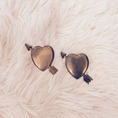 Set of 2 Antique Heart Pins Handcrafted. Brass. Unique and beautiful! One of the pins has tarnish on it from old age. Jewelry Brooches