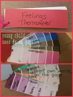Feelings Thermometer made from paint samples for TF-CBT therapy I created with clients. Teens used their own words as the gages and younger clients used #s.
